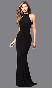 Image of high-neck Faviana long prom dress with cut outs. Style: FA-7943 Detail Image 2