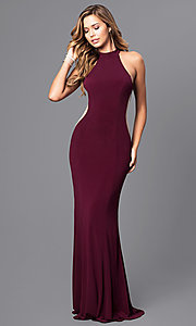 Image of high-neck Faviana long prom dress with cut outs. Style: FA-7943 Front Image