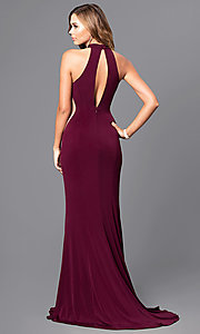 Image of high-neck Faviana long prom dress with cut outs. Style: FA-7943 Back Image