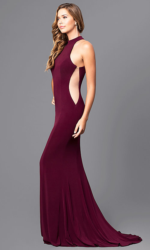 Image of high-neck Faviana long prom dress with cut outs. Style: FA-7943 Detail Image 1