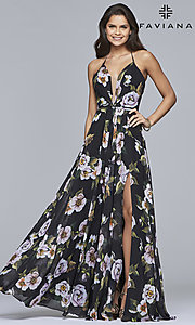 Image of Faviana floor-length v-neck floral-print formal dress. Style: FA-7946 Detail Image 1