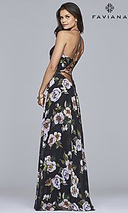 Image of Faviana floor-length v-neck floral-print formal dress. Style: FA-7946 Detail Image 2
