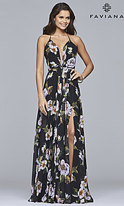 Image of Faviana floor-length v-neck floral-print formal dress. Style: FA-7946 Detail Image 5