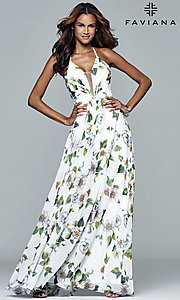 Image of Faviana floor-length v-neck floral-print formal dress. Style: FA-7946 Detail Image 7