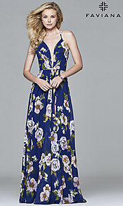 Image of Faviana floor-length v-neck floral-print formal dress. Style: FA-7946 Detail Image 6