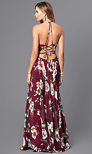 Image of Faviana floor-length v-neck floral-print formal dress. Style: FA-7946 Back Image