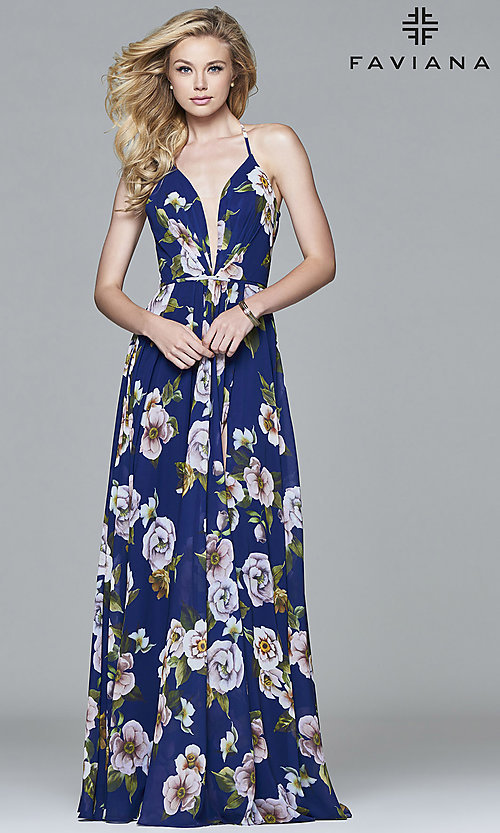 Image of Faviana floor-length v-neck floral-print formal dress. Style: FA-7946 Front Image