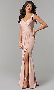 Image of formal long v-neck prom dress with back cut outs. Style: FA-7954 Detail Image 1