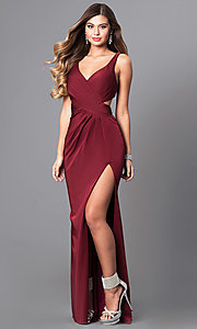 Image of formal long v-neck prom dress with back cut outs. Style: FA-7954 Front Image