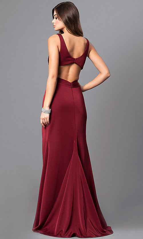 Image of formal long v-neck prom dress with back cut outs. Style: FA-7954 Back Image