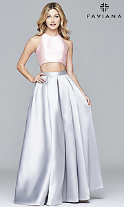Image of two-toned Faviana two-piece long prom dress Style: FA-7962 Detail Image 1