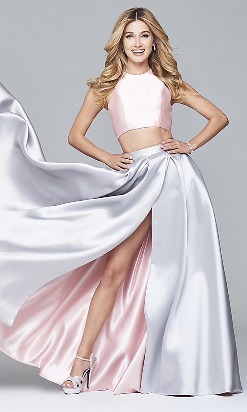 Image of two-toned Faviana two-piece long prom dress Style: FA-7962 Front Image