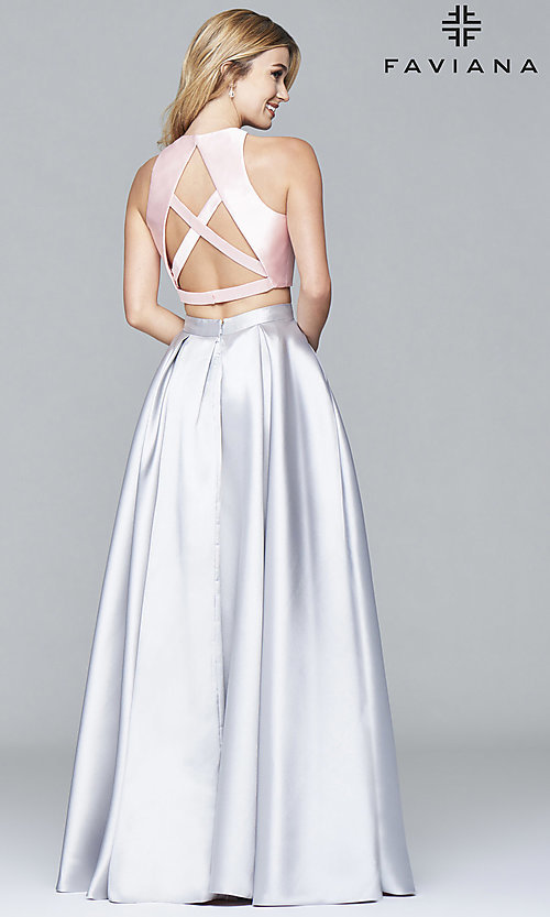 Image of two-toned Faviana two-piece long prom dress Style: FA-7962 Back Image