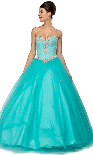 Floor Length Strapless Sleeveless Quinceanera Gown