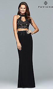 Image of two-piece long prom dress with lace appliques. Style: FA-7967 Detail Image 3