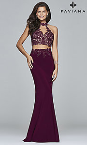 Image of two-piece long prom dress with lace appliques. Style: FA-7967 Detail Image 1