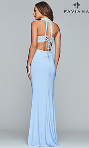 Image of two-piece long prom dress with lace appliques. Style: FA-7967 Detail Image 5