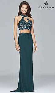 Image of two-piece long prom dress with lace appliques. Style: FA-7967 Detail Image 2