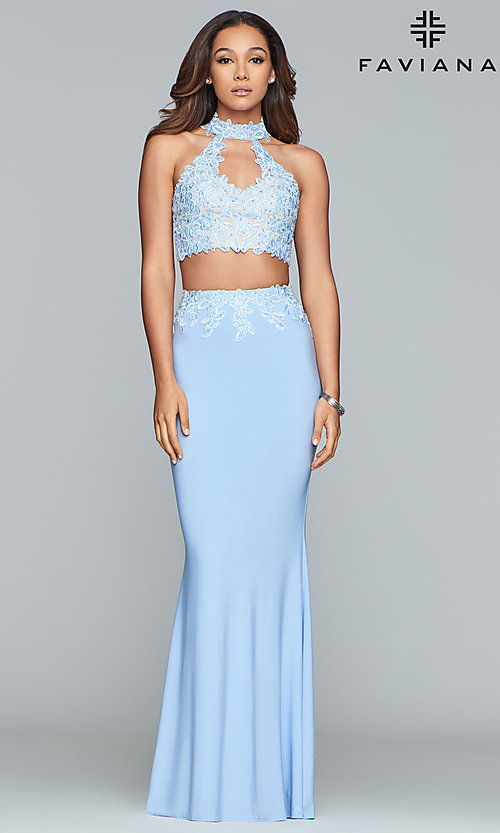 Image of two-piece long prom dress with lace appliques. Style: FA-7967 Detail Image 4