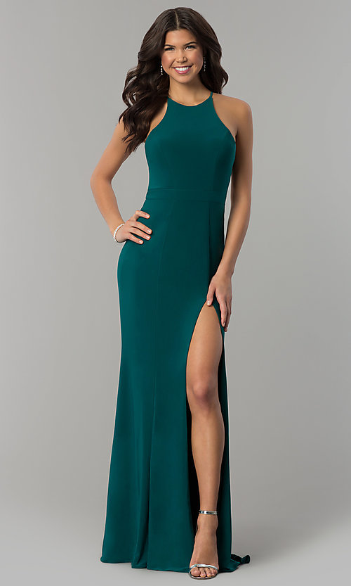 Image of Faviana high-neck long formal dress with train. Style: FA-7976 Detail Image 3
