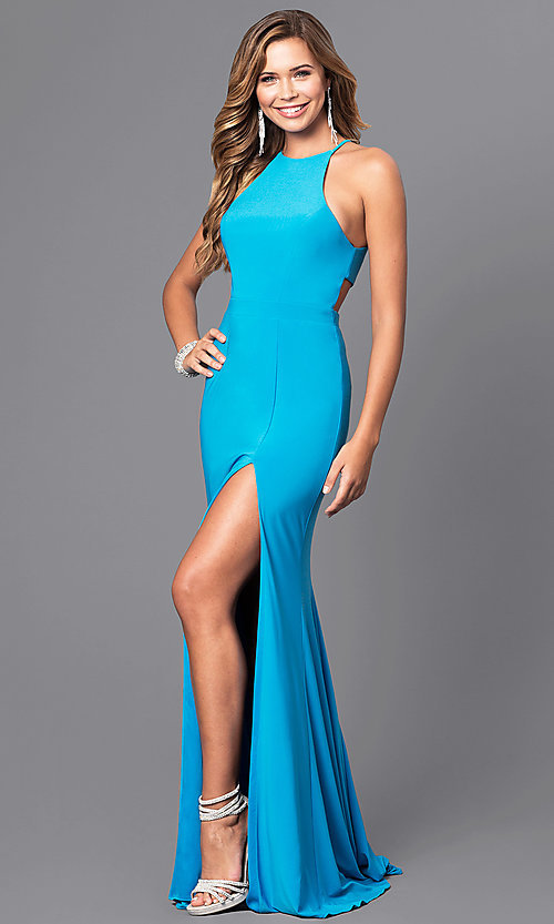 Image of Faviana high-neck long formal dress with train. Style: FA-7976 Detail Image 4