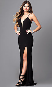Image of Faviana low v-neck long prom dress with corset back. Style: FA-7977 Front Image