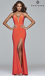 Image of Faviana low v-neck long prom dress with corset back. Style: FA-7977 Detail Image 2