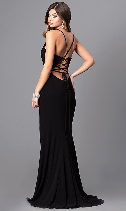 Image of Faviana low v-neck long prom dress with corset back. Style: FA-7977 Back Image