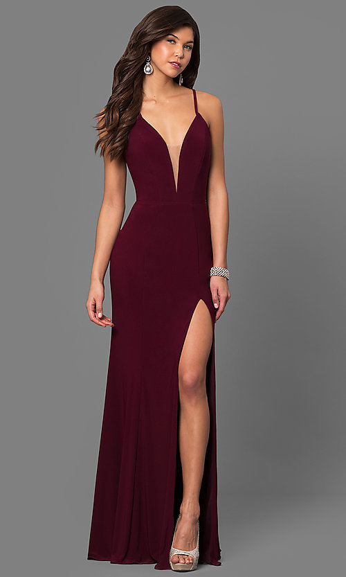 Image of Faviana low v-neck long prom dress with corset back. Style: FA-7977 Detail Image 1