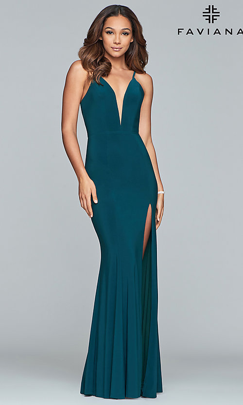Image of Faviana low v-neck long prom dress with corset back. Style: FA-7977 Detail Image 3