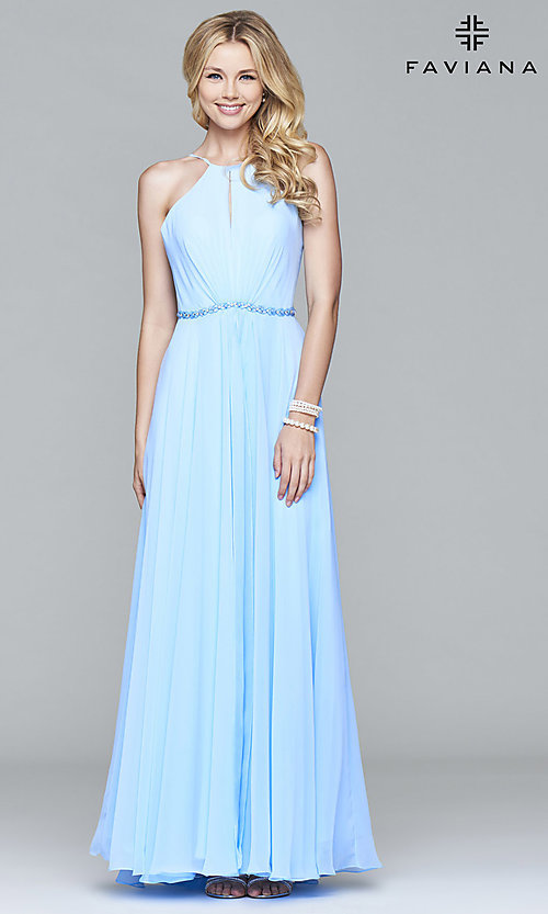 Image of Faviana cloud blue open-back long formal prom dress. Style: FA-7978 Front Image