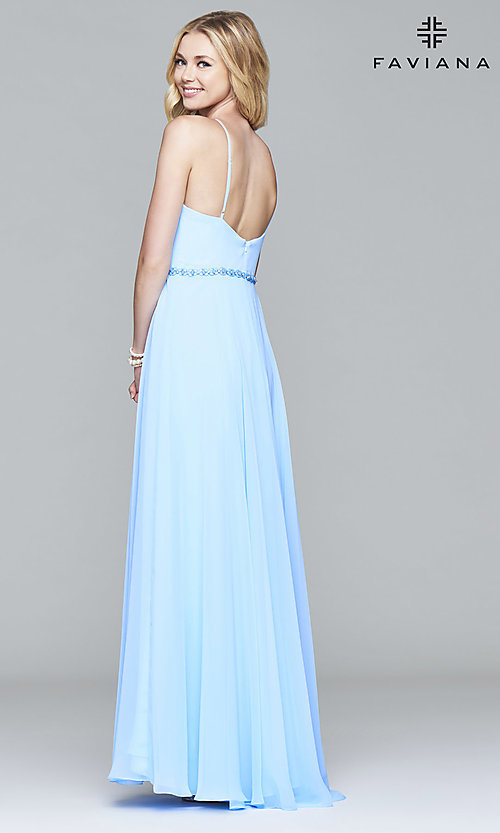 Image of Faviana cloud blue open-back long formal prom dress. Style: FA-7978 Back Image