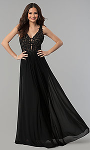 Image of v-neck long formal dress with beaded-lace appliques.  Style: FA-8000 Detail Image 2