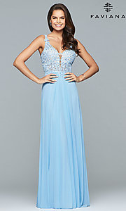 Image of v-neck long formal dress with beaded-lace appliques.  Style: FA-8000 Detail Image 4