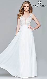 Image of v-neck long formal dress with beaded-lace appliques.  Style: FA-8000 Detail Image 3