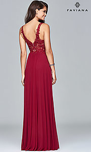 Image of v-neck long formal dress with beaded-lace appliques.  Style: FA-8000 Back Image