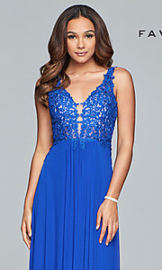 Image of v-neck long formal dress with beaded-lace appliques.  Style: FA-8000 Detail Image 6