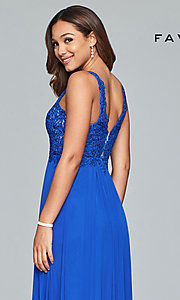 Image of v-neck long formal dress with beaded-lace appliques.  Style: FA-8000 Detail Image 7