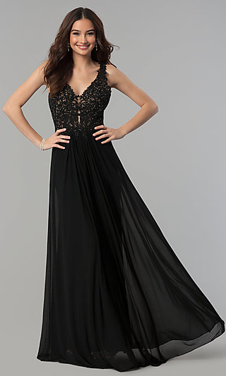 V-Neck Long Formal Dress with Beaded-Lace Appliques