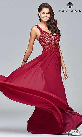 787602457e0 V-Neck Long Formal Dress with Beaded-Lace Appliques