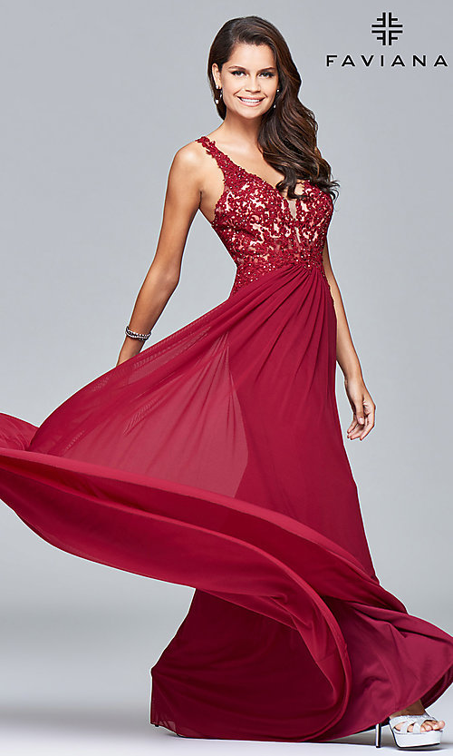Image of v-neck long formal dress with beaded-lace appliques.  Style: FA-8000 Front Image