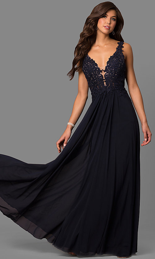 Image of v-neck long formal dress with beaded-lace appliques.  Style: FA-8000 Detail Image 1