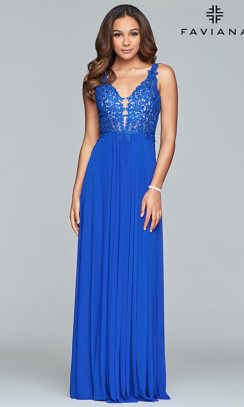 Image of v-neck long formal dress with beaded-lace appliques.  Style: FA-8000 Detail Image 5