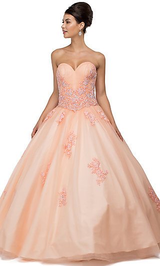Floor Length Embroidered Sweetheart Quinceanera Gown