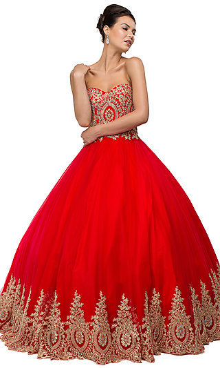 Sleeveless Strapless Beaded Quinceanera Gown