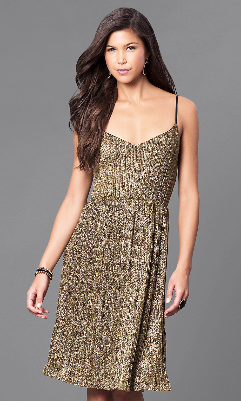 Metallic Gold Knee-Length Holiday Party Dress