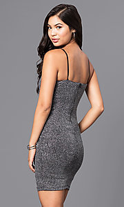 Image of v-neck short silver party dress in metallic knit. Style: JTM-JD7369 Back Image
