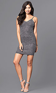 Image of v-neck short silver party dress in metallic knit. Style: JTM-JD7369 Detail Image 1