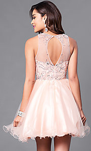 Image of fit-and-flare short illusion homecoming party dress. Style: DQ-9179 Back Image