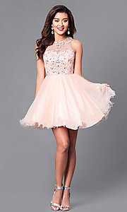 Image of fit-and-flare short illusion homecoming party dress. Style: DQ-9179 Detail Image 1